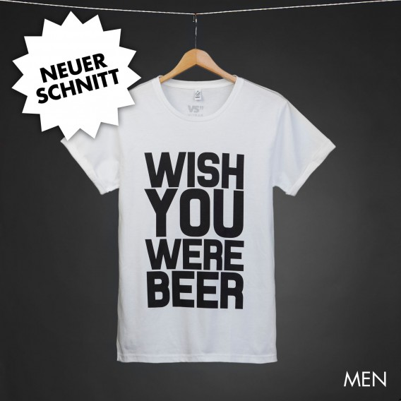 Shirt Wish you were beer white men rolled sleeve
