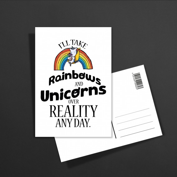POSTKARTE Rainbows and unicorns