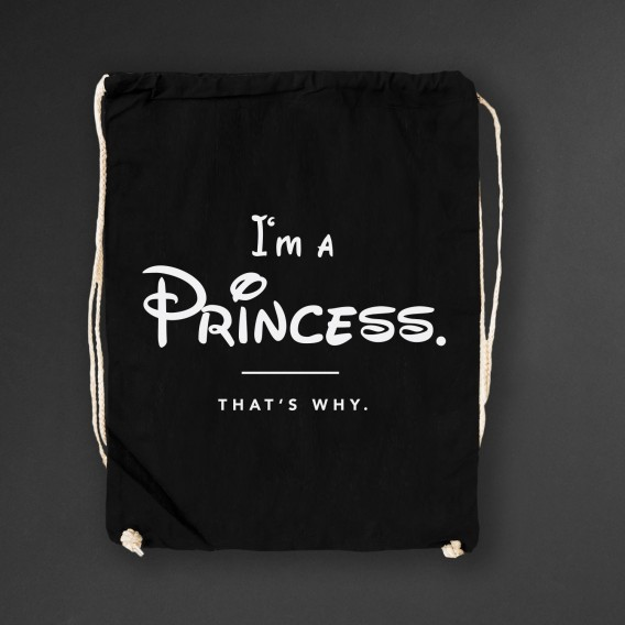 Turnbeutel I'm a Princess thats why black