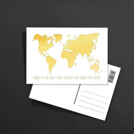 POSTKARTE Weltkarte Travel gold