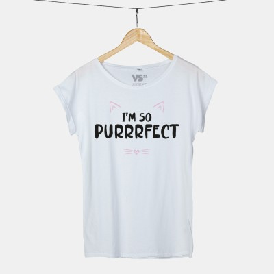 """VS'' Katzenshirt mit Print """"I'm so purrrfect"""" Weiß"""
