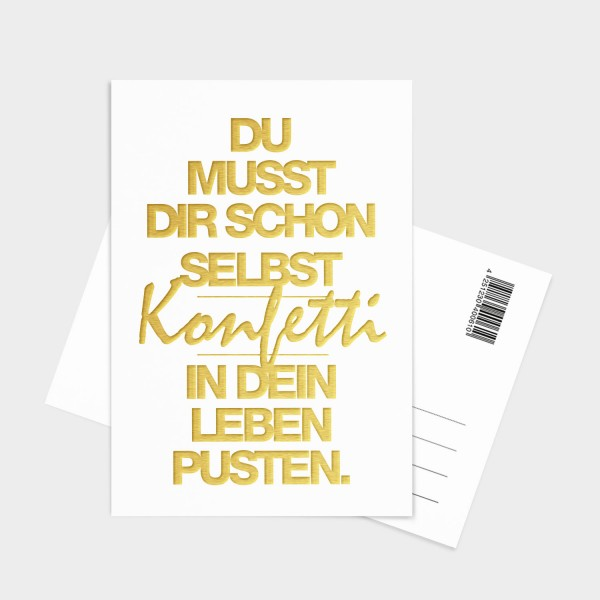 Konfetti Gold - Postkarte