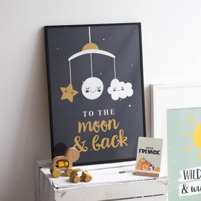 To the moon and back - Poster Kinderzimmer - Geschenk zur Geburt
