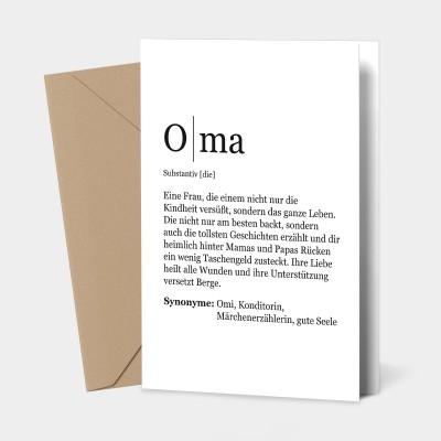 """Grußkarte Oma - Definition Oma - Grußkarte von VS"""""""