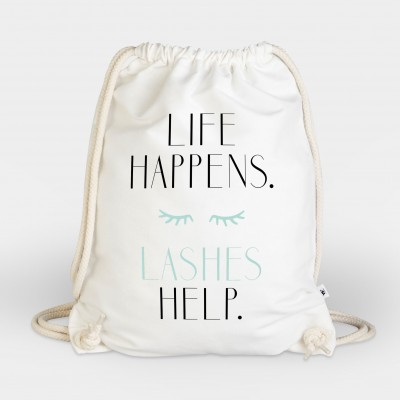 Life happens. Lashes help - Turnbeutel