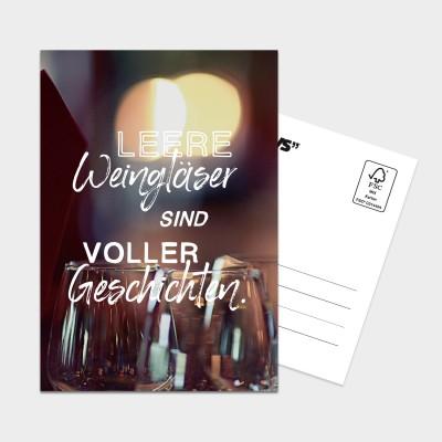 Leere Weingläser - Postkarte