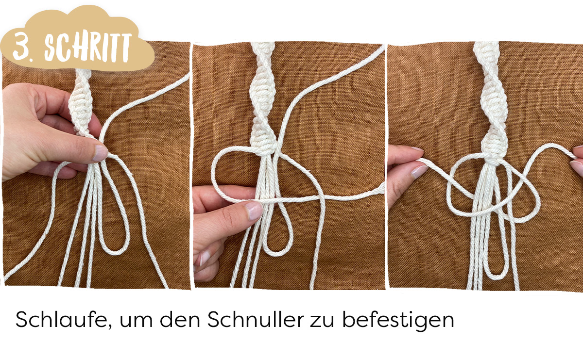 Makramee DIY Schnullerkette