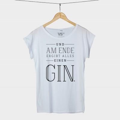 """Ein Gin-T-Shirt in Schwarz oder Weiß: """"Am Ende ergibt alles einen GIN"""""""