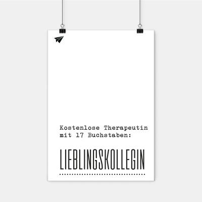 Poster Lieblingskollegen - Kostenlose Therapeutin mit 17 Buchstaben: Lieblingskollegin