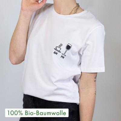"""AM/PM - weißes witziges T-Shirt mit Spruch von VS"""""""