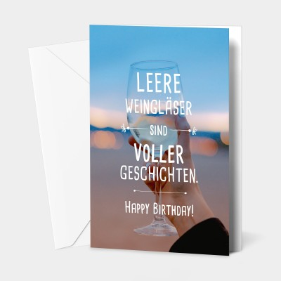 "Leere Weingläser - Grußkarte von VS"""