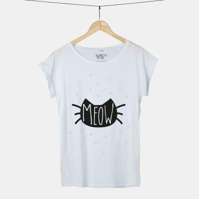 Ein MEOW Shirt mit schwarzem Katzenmotiv von VS'' Weiß
