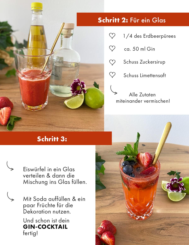 Gin Cocktail mit Erdbeeren
