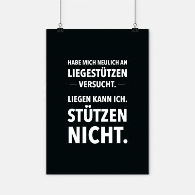 Poster Liegestützen - Poster mit Spruch - wrdprn