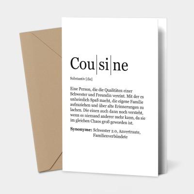 Cousine Grußkarte - Definition Cousine