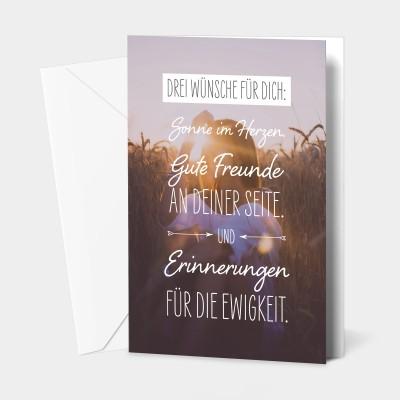 """Drei Wünsche für dich - Grußkarte von VS"""""""