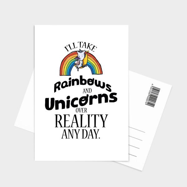 Rainbows and unicorns - Postkarte