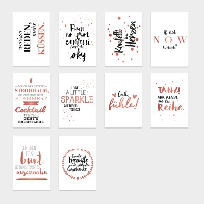 10er Roségold Postkarten-Set #2