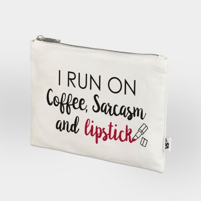 I run on coffee, sarcasm and lipstick - Zip Bag