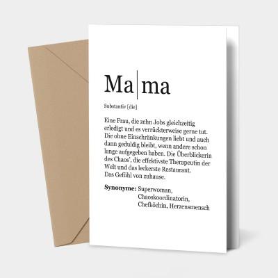 "Grußkarte Mama - Definition Mama - Grußkarte von VS"""
