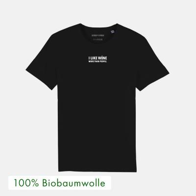 I like wine more than people - schwarzes T-Shirt von wrdprn - 100% Biobaumwolle -