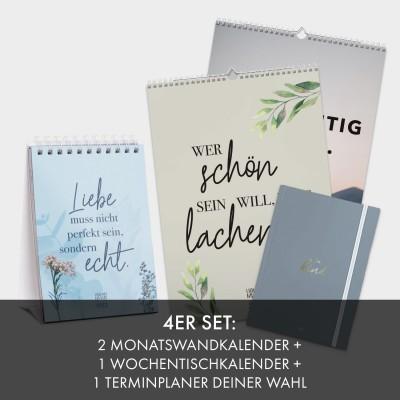 4er Set: 2 Monatswandkalender + 1 Wochentischkalender + 1 Terminplaner A5