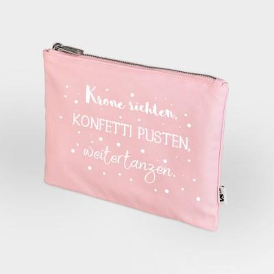 Kosmetiktasche rosa - Krone richten, Konfetti pusten, weitertanzen