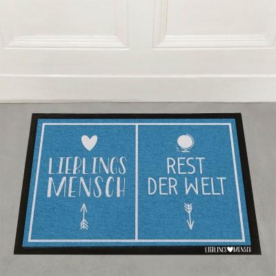 Blaue Fußmatte Lieblingsmensch 60x40cm
