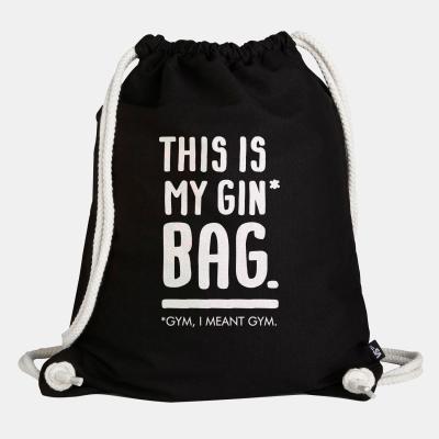 """This is my Gin* Bag - Turnbeutel von VS"""" - schwarzer Beutel mit Kordeln"""