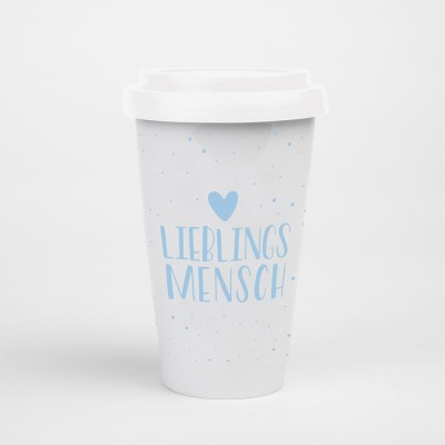 "Visualstatements To-Go-Becher blau weiß ""Lieblingsmensch"""