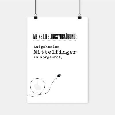Poster Lieblingskollegen - Meine Lieblingsyogaübung. Aufgehender Mittelfinger im Morgenrot