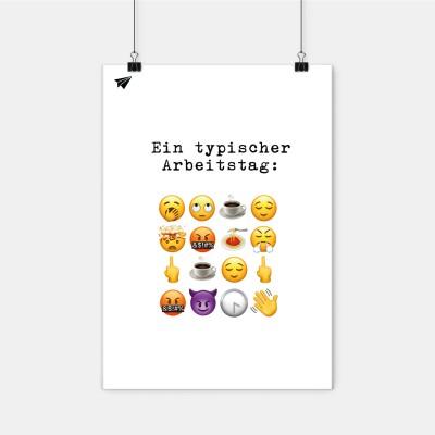 Ein typischer Arbeitstag in Emojis - Poster A2 von Lieblingskollegen