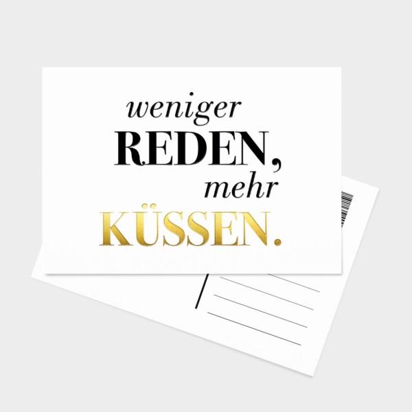 Weniger reden mehr küssen - Postkarte