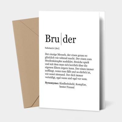 """Grußkarte Bruder - Definition Bruder - Grußkarte von VS"""""""