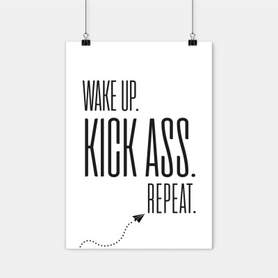 "Poster Lieblingskollegen - ""Wake up. Kick ass. Repeat."""