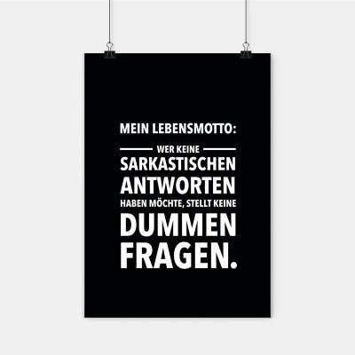 Poster wrdprn - Mein Lebensmotto: Wer keine sarkastischen Antworten haben möchte, stellt keine dummen Fragen.