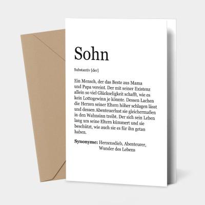 Grußkarte Sohn - Definition Sohn
