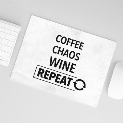 Mousepad Wordporn - Coffee, Chaos, Wine, Repeat