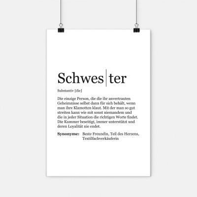 """Schwester Poster - Dudeneintrag Schwester - Definition Schwester - VS"""" - Visual Statements"""