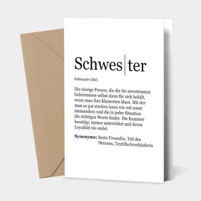 """Grußkarte Schwester - Definition Schwester - Grußkarte von VS"""""""