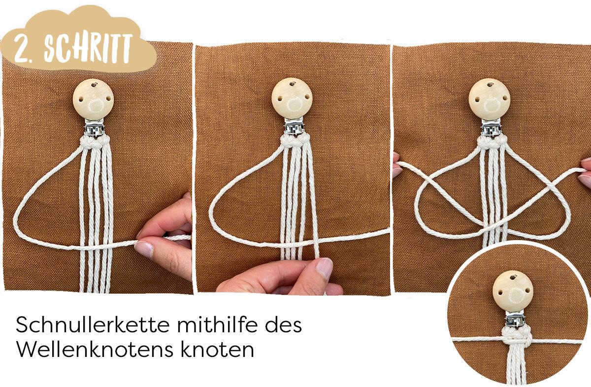 Wellenknoten DIY Schnullerkette