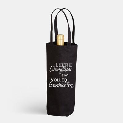 "VS"" Flaschenbeutel - Leere Weingläser sind voller Geschichten"