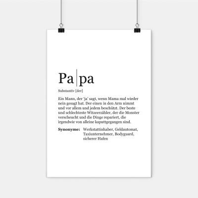 "Dudeneintrag Papa - Definition Papa - Poster Papa - VS"" - Visual Statements"