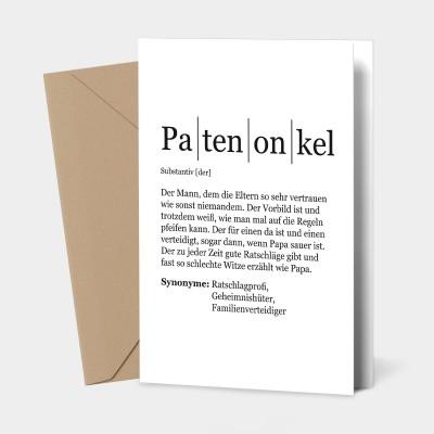 """Grußkarte Patenonkel - Definition Patenonkel - Grußkarte VS"""""""